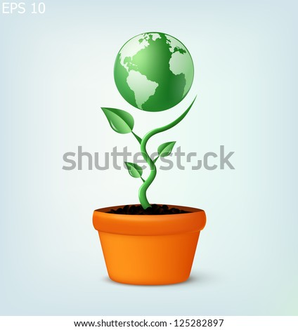 earth globe growing in flower