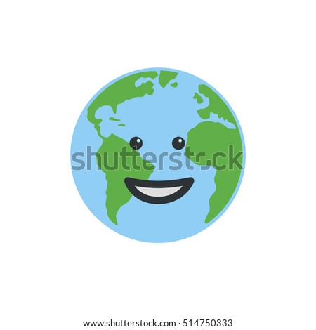 Earth globe happy. Isolated on white background. Flat planet icon. Vector illustration.