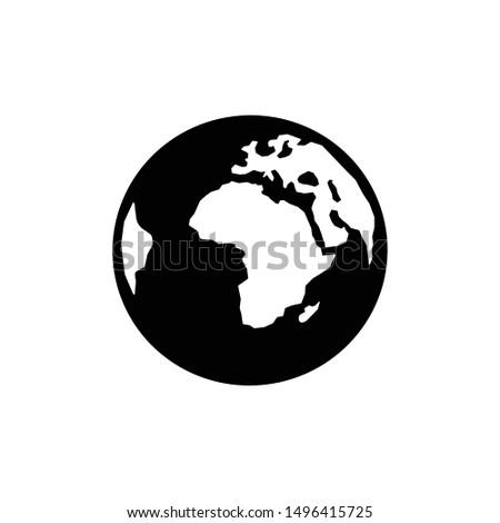 Earth Globe Icon stock vector illustration. Flat design