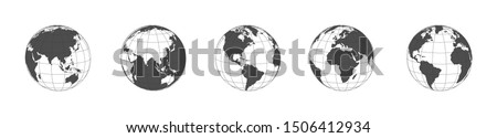Earth globe icons set in a row. Panorama view. Earth globe dark icons isolated on white background. Earth globe in flat design. Eps10