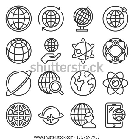 Earth Globe Icons Set on White Background. Line Style Vector