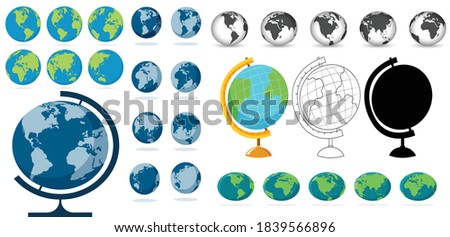Earth globe icons with a different continents megaset collection