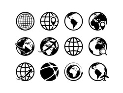 Earth globe icons. World map geography internet global commerce international tourism vector globe symbol set