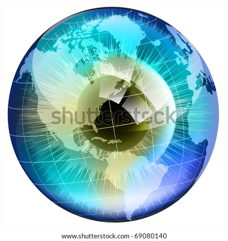 earth globe in  human eye