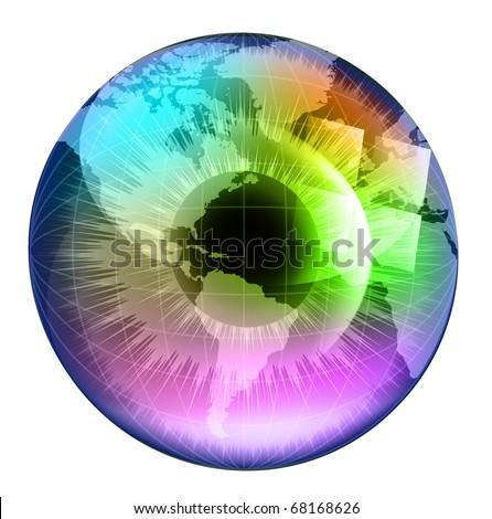 earth globe in multicolor human