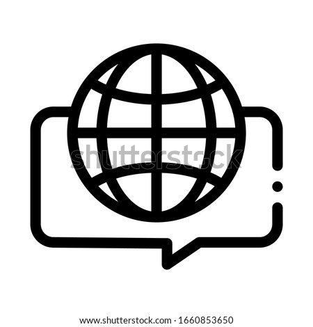 Earth Globe In Quote Frame Icon Thin Line Vector. Worldwide International Different Languages Speaking Concept Linear Pictogram. Monochrome Outline Sign Isolated Contour Symbol Illustration Сток-фото ©