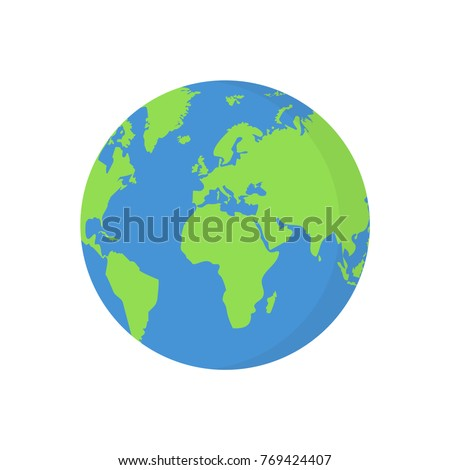 Earth globe isolated on white background. Flat planet icon. Vector illustration.