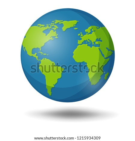 Earth Globe isolated on white Background. Illustration Vector EPS10.