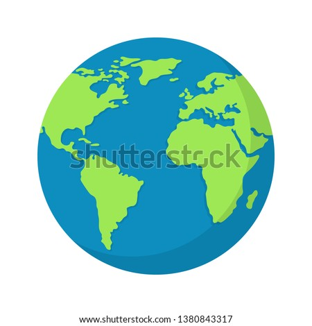 Earth globe isolated on white background. World map. Earth icon. Clean and modern vector illustration for design, web.