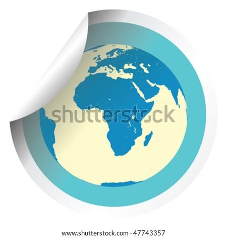 Earth globe on fresh label stick