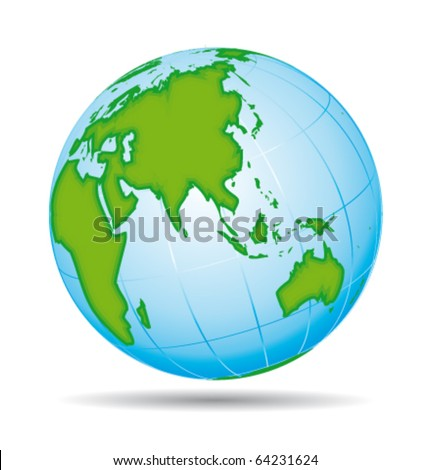 Earth globe planet icon. Asia and australia pacific view. Vector illustration.