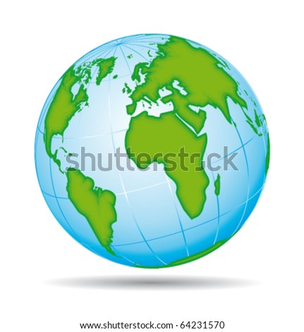 Earth globe planet icon. European and american view. Vector illustration.