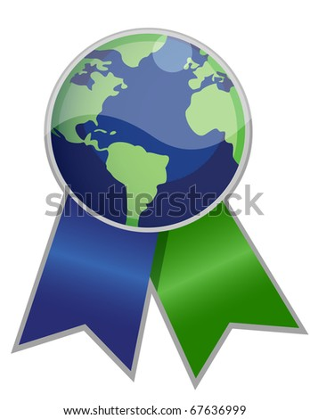 Earth globe ribbon isolated over white. /