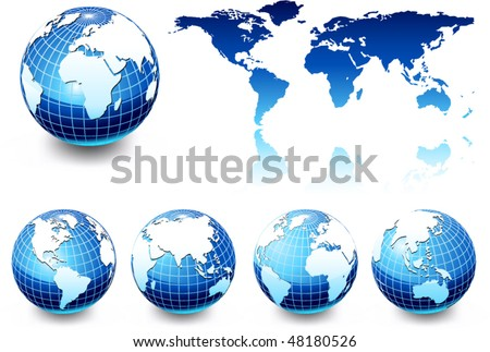 earth globe set, different views