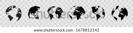 Earth globe set. World map in globe shape. Earth globes collection on isolated background. Flat style - stock vector.