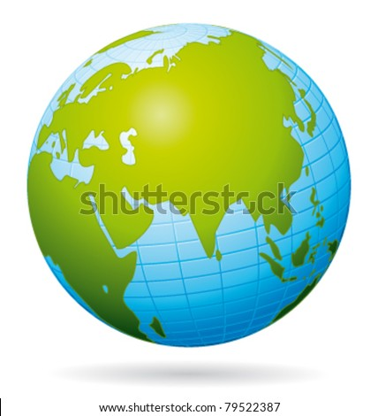 earth globe vector icon asian