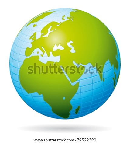 Earth globe vector icon. European view.