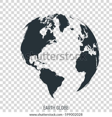 earth globe view on north and