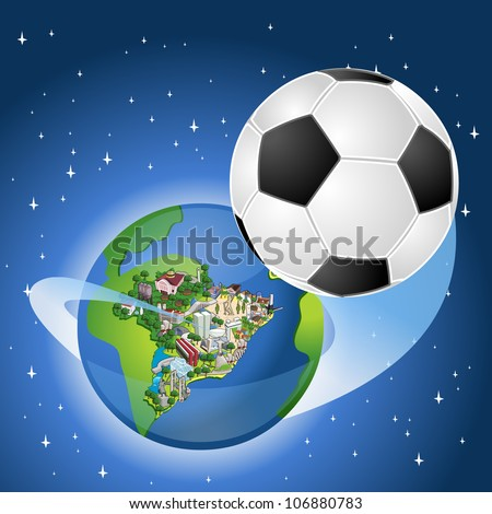 earth globe with a soccer ball
