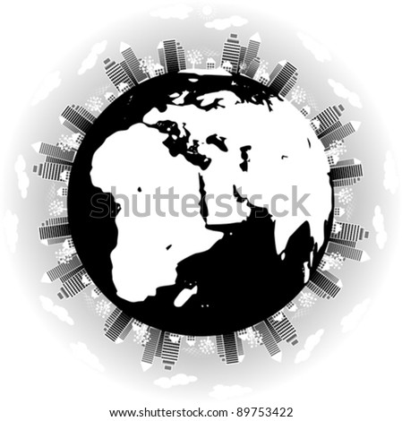 earth globe with city scape - environmental concept, vector