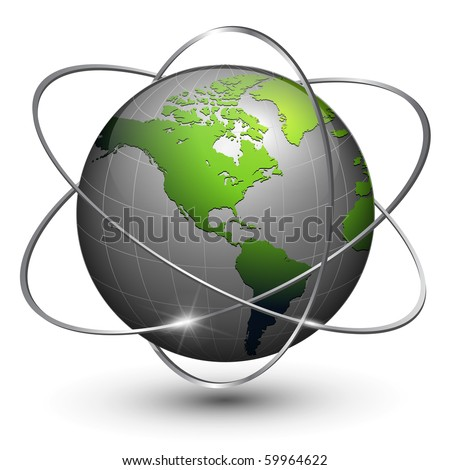 Earth globe with orbits around, vector. - stock vector