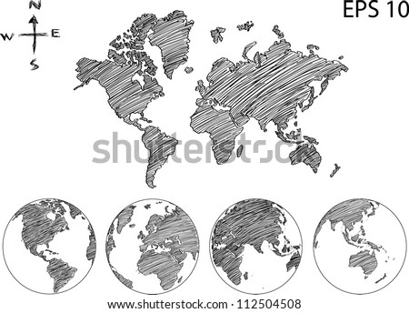 Sketch world map vectors download free vector art stock graphics earth globe with world map detail vector line sketch up illustrator eps 10 gumiabroncs