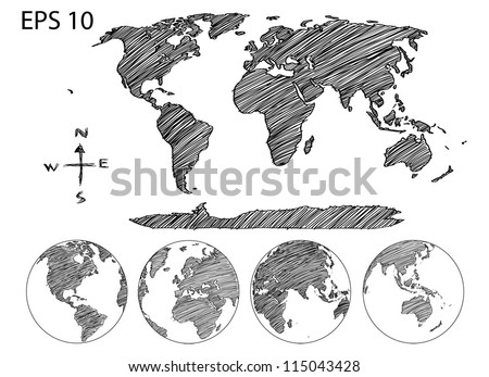Earth Globe with World map Detail Vector Line Sketch Up Illustrator, EPS 10.