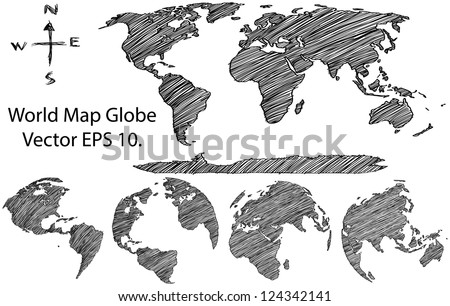 Earth Globe with World map Detail Vector Line Sketched Up Illustrator EPS 10