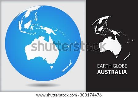 earth globeworld globe icon with map of australiavector illustration