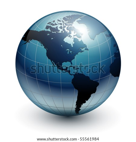 Earth globe, world glossy detailed vector illustration.