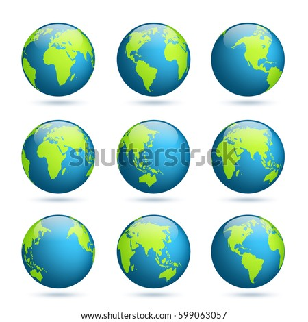 Earth globe. World map set. Planet with continents.Africa Asia, Australia, Europe, North America and South America.