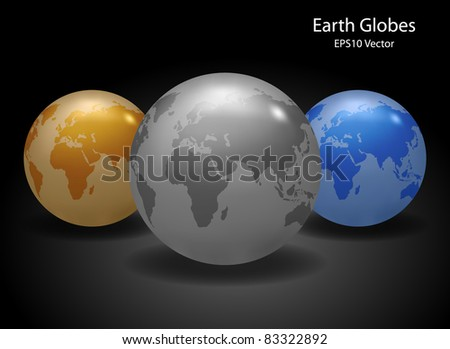 Earth Globes - EPS10 Vector