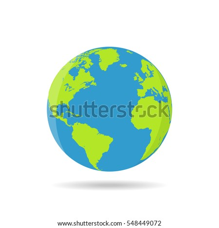 Earth globes isolated on a white background in a flat design