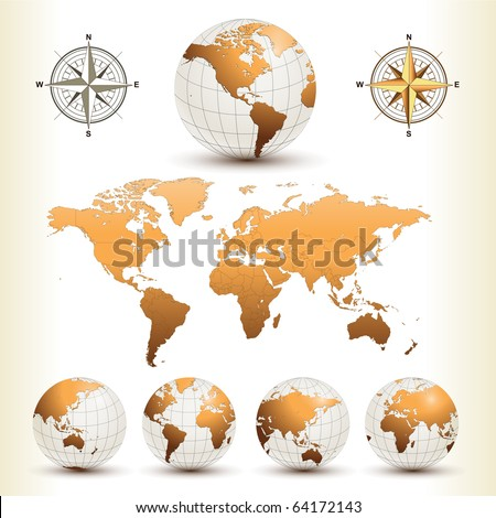 earth globes with detailed
