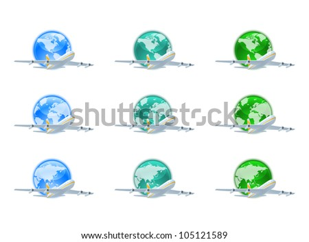 Earth globes with planes
