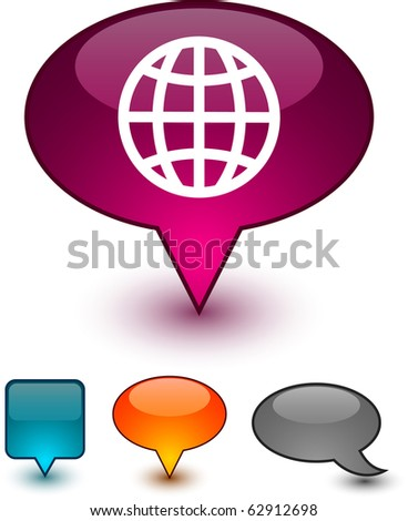 Earth  glossy speech vector icons.
