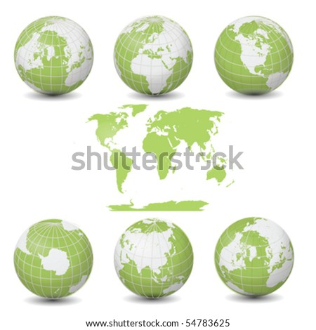 Earth Green Globes collection with World map vector illustration clip art isolated on white