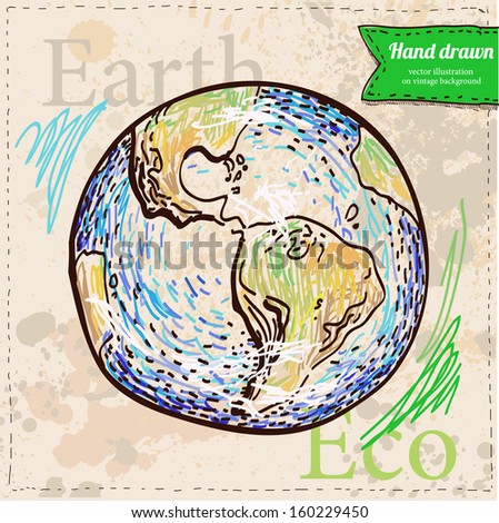 Earth. Hand drawn on vintage textured background in color. Vector eps 8. Sketchy design element.