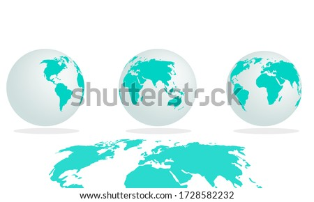 Earth hemisphere, globe in different directions, set of 3,  globe  for news, blue earth, globe with continents