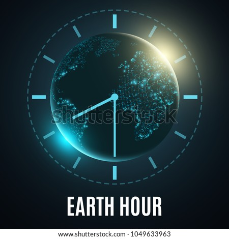 Earth Hour. Futuristic planet earth. 60 minutes without electricity. Sunrise. Global holiday. Abstract world map. Vector illustration. EPS 10