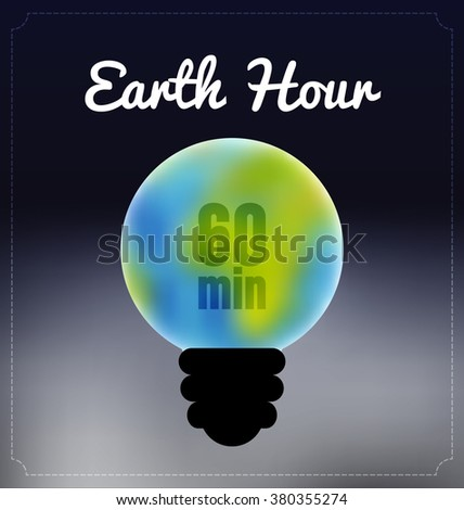 earth hour typographic vector