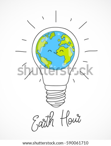 Earth Hour. Vector illustration of the planet in light bulb on a white background. Calligraphy and lettering. Ecology and conservation of energy concept.