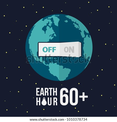 Earth hour with switch turn off on and stat vector design