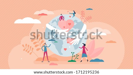 Earth hug vector illustration. Love, care planet flat tiny persons concept. Use renewable resources as sustainable lifestyle and world protection symbol. Nature friendly attitude with bio products.