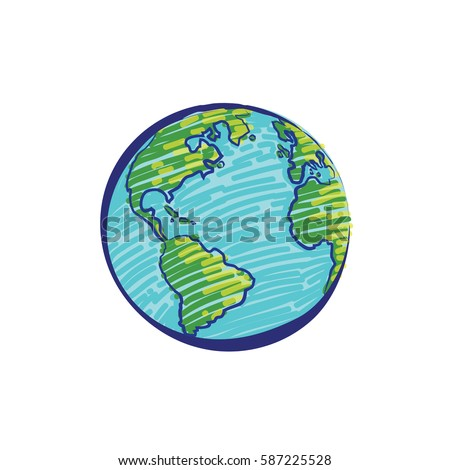 Earth icon hand-drawn on white background. World map in doodles or globe retro style. Environment design for earth day.