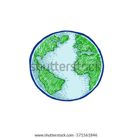 Earth icon hand-drawn on white background. World map or globe in doodles style. Environment design for earth day.