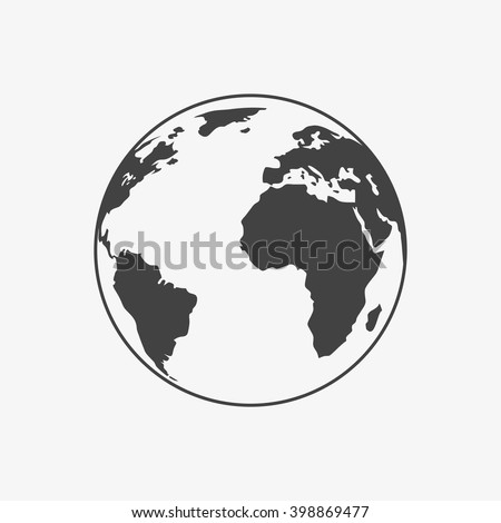 earth icon in trendy flat style