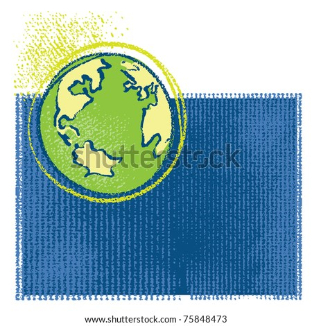 Earth icon, simple grunge chalk drawing, vector