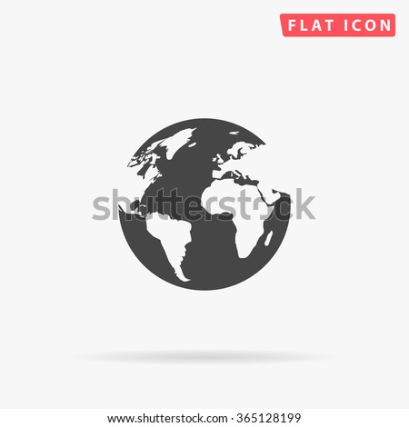 earth icon vector simple flat