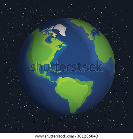 Earth in outer space. Earth on the space background with stars. Cosmic background with Earth. Earth with shadow. Planet in universe, stock vector.